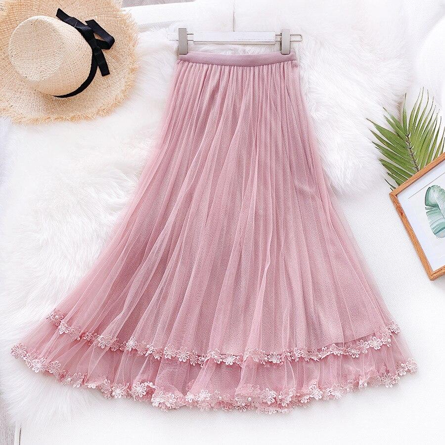 2020 Women Pure Color Lace Crochet Flower Hem Women Summer Long Skirt Vintage Women High Waist Boho Skirt Faldas Jupe Femme Saia