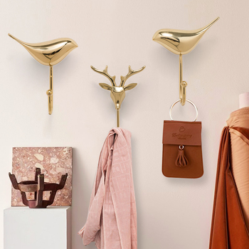 American new style Luxury copper key hook bird's wall door copper coat hook vintage home decor  mini animals figures wall decor