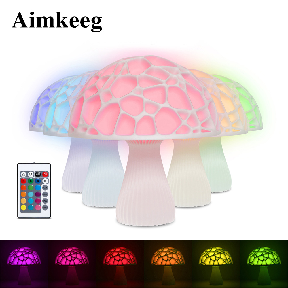 3D Led Night Light Can Charge 16 Kinds Of Color Mushroom Lamp For Children Infrared Remote Control Decorative Lights LED Gift