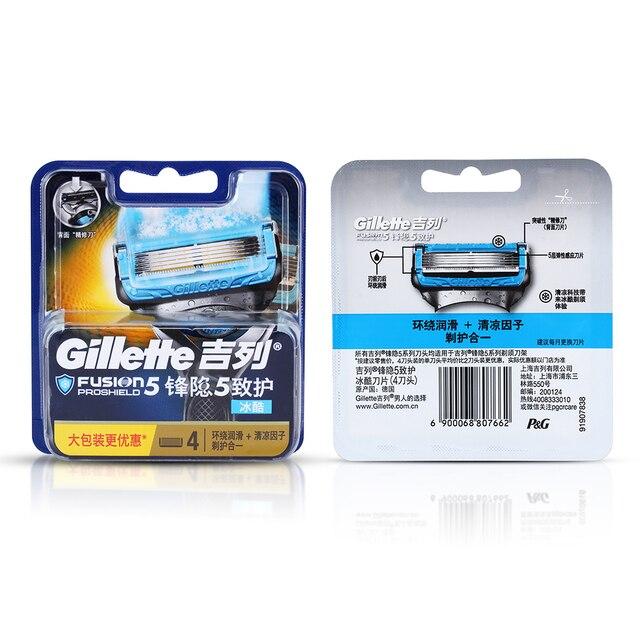 Gillette Fusion Proshield Razor Blade For Men Shaver Blades With Cooling Beard Shaving Razors Blades 4Pcs Machine for Shaving 6