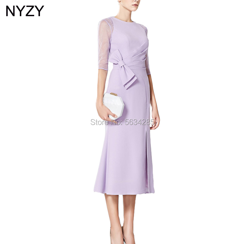 Elegant 1/2 Sleeves Lilac Chiffon Short Mother Of The Bride Dresses 2020 NYZY M5 Formal Dress Party Cocktail Wedding Guest Wear