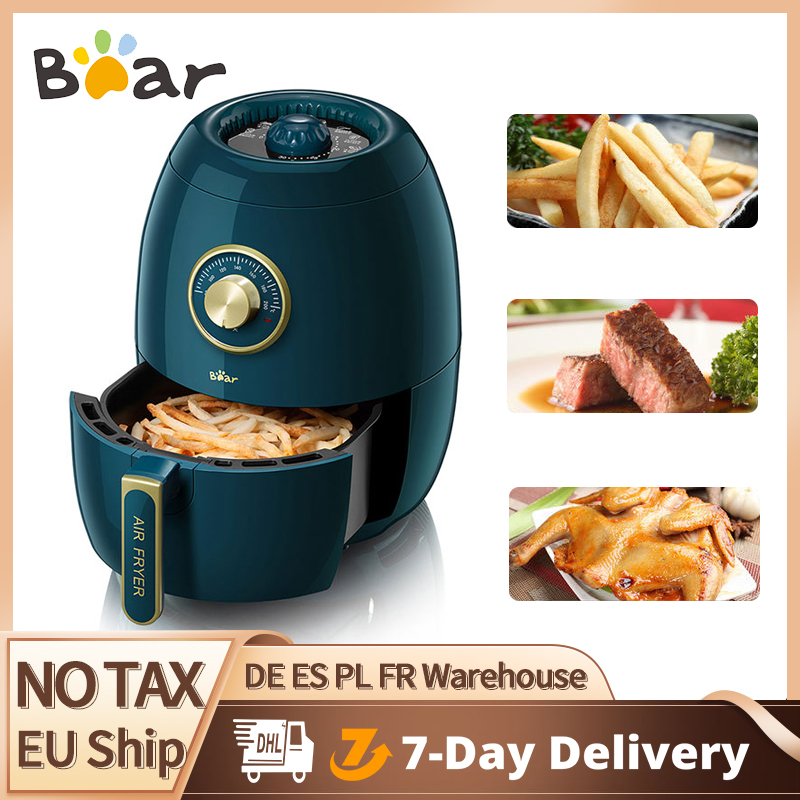 Bear 3L Air Fryer 1350W Electric Deep Fryers Oil Free Health Fryer Adjustable Timing Cake French Fries Cooker A19A