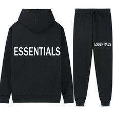 Essentials Double line Men's Set Hooded+Pants 2 Pcs Sportswear New Product Jogging Sweater Fitness Pullover Suit Sweatshirt