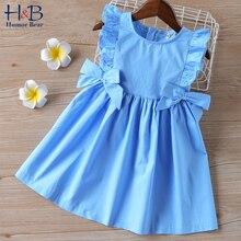 Летнее платье для девочек Humor Bear, новинка, одежда для девочек, платья принцессы без рукавов с оборками и большим бантом, Модное детское плать...