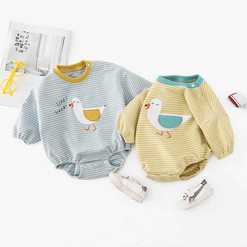 Autumn Baby Clothes Spring Long Sleeve Baby Rompers Cute Duck Print Baby Kids Bodysuit Newborn Infant Jumpsuit Costume