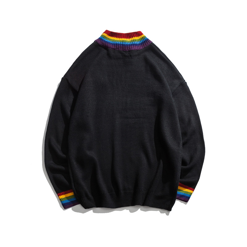 2020 Rainbow Collar Pullover Black White Sweater Men Winter Loose Style Personality Sweaters Mens Clothing High Street Sweaters
