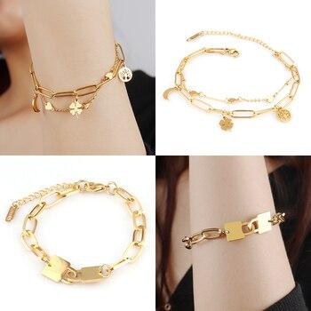Fashion Heart Bracelet Punk Stainless Steel Bracelet Pendant Thick Chain Bracelet For Women Charm Bracelet Party Jewelry Gift недорого