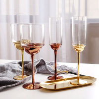 Creative Wine glass cup Electroplated Rose Gold crystal glass goblet champagne glasses home drinking cups Bar Hotel Drinkware