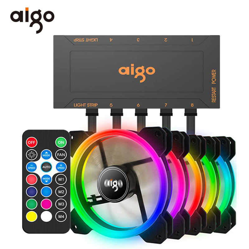 Aigo DR12 120Mm Koeler Fan Dubbele Aura Rgb Pc Fan Koelventilator Voor Computer Stille Gaming Case Met Ir afstandsbediening Am3 Am4