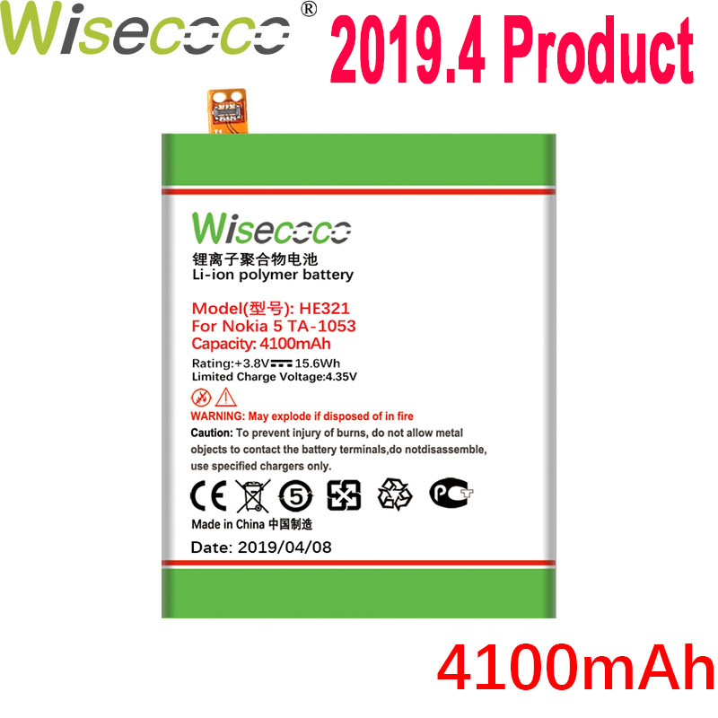 WISECOCO HE321 HE336 Battery For <font><b>Nokia</b></font> <font><b>5</b></font> Dual SIM (<font><b>TA</b></font>-<font><b>1053</b></font> <font><b>DS</b></font>) Mobile Phone Latest Production Battery+Tracking Number image