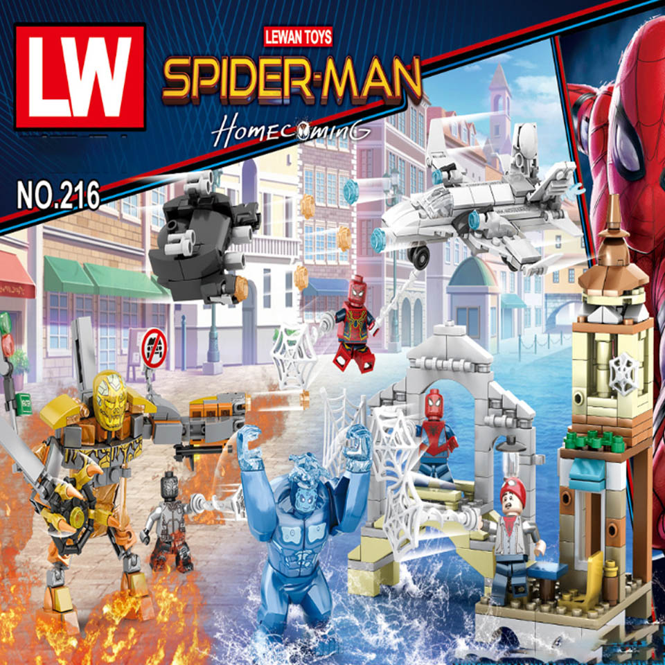 4pcs/lot Legoinglys Avengers 4 Super Heroes Marvel Molten Spider Man Venom Spiderman Far From Home Building Blocks Brick Toy