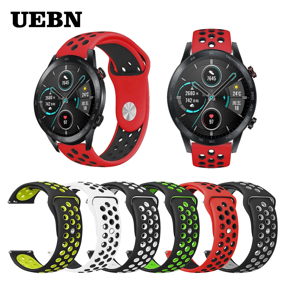 UEBN 20mm 22mm Strap Silicone Replacement Breathable Watch Band For Huawei Honor Watch Magic 2 &GT2 42mm 46mm Sport Watchbands