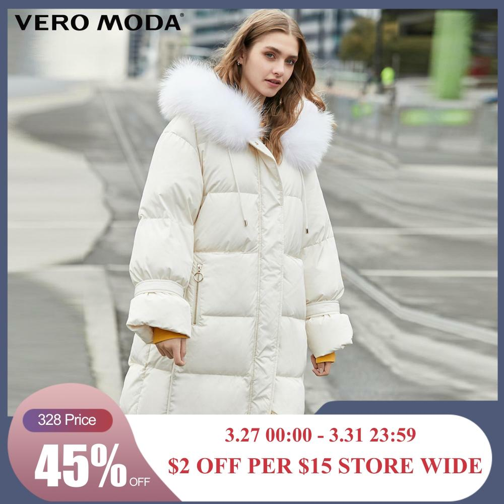Vero Moda Women's Long Hooded Oversize White Down Jacket Parka Coat | 319412514