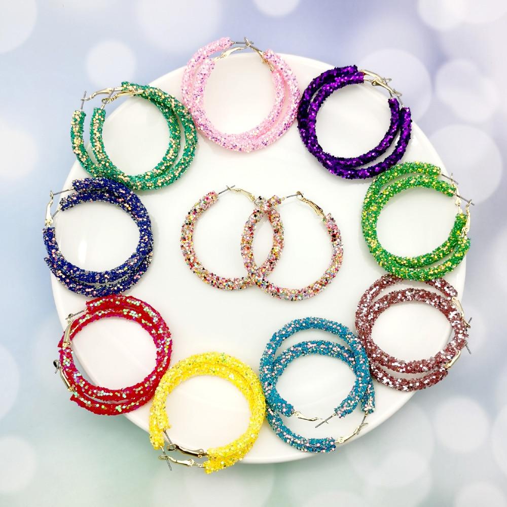 Fashion Hoop Earrings Glitter Sequins Jewelry Geometric Charm Design Round Bling Women...