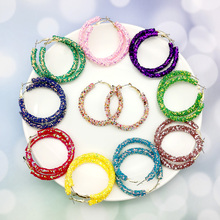 Fashion Hoop Earrings Glitter Sequins Jewelry Geometric Charm Design Round Bling Women Lady Hoop Jewelry Earring Party Gift glitter design hoop earrings