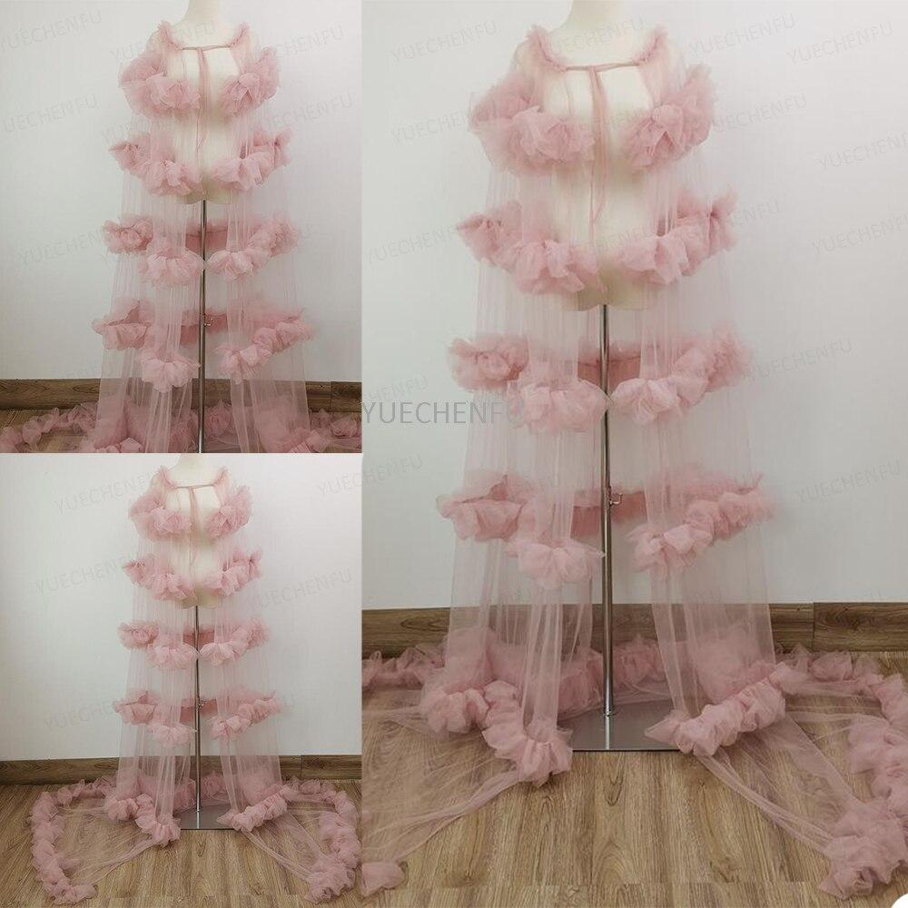 Ladies Shawl Tulle Bathrobe Illusion Wedding Robe Cape Breastfeeding Loungewear Sleepwear Bridal Nightgown Maternity Dress