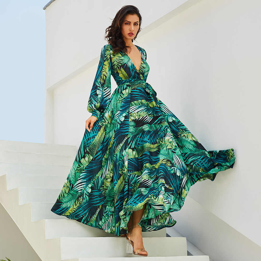 2019 Summer Dress Elegant Evening Party Night Dresses For Women Long Sleeve Bohemian Gown Ladies Large Plus Size Green V Neck