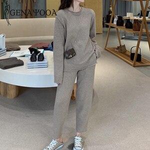 Image 2 - Genayooa Vintage de punto para mujer trajes de dos piezas de manga larga conjunto de 2 piezas para mujer casual conjunto de dos piezas y pantalones 2019 invierno
