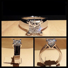 Mens Ring Moissanite Diamond 925-Sterling-Silver 925-Jewelry Square Gemstone Women Real