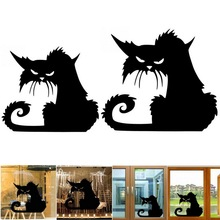 1 piezas creativo decoraciones de Halloween extraíble 3D Terror de gato de dibujos animados etiqueta negro gatos Ventana de pared pegatinas de decoración