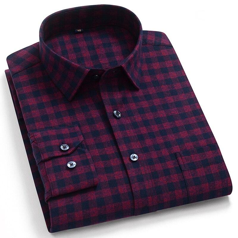 рубашка в клетку Классическая мужская клетчатая Повседневная рубашка из чистого хлопка с длинными рукавами, мягкая удобная деловая рубашка для отдыха Повседневные рубашки      АлиЭкспресс