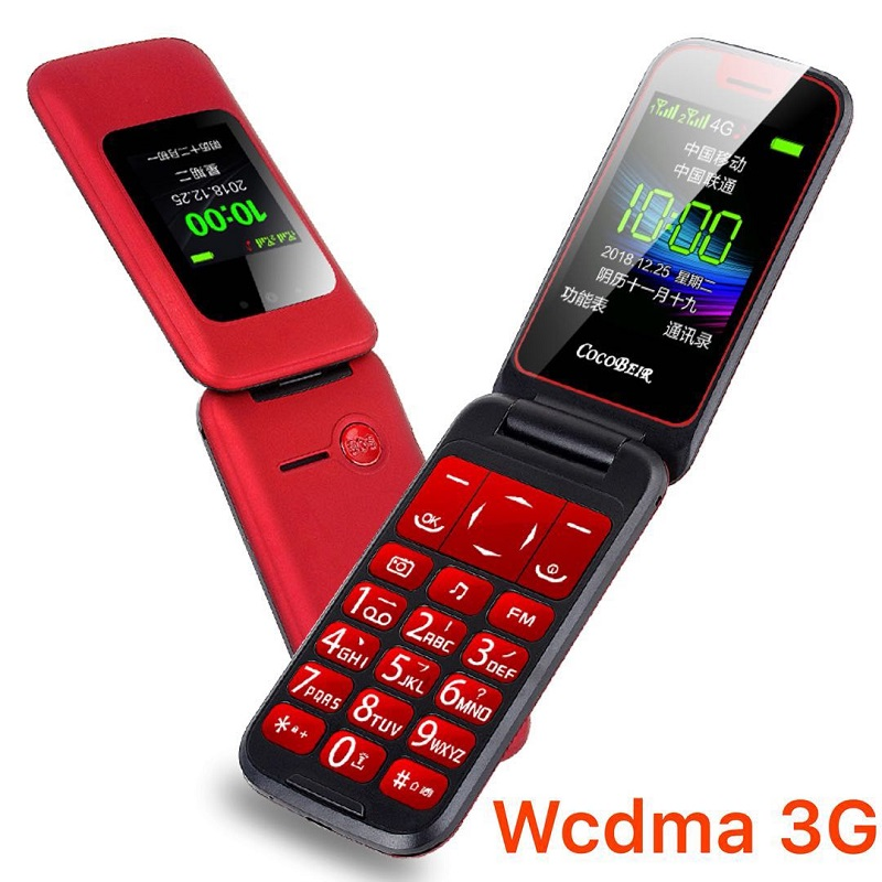 Flip Senior Cellphone 3G WCDMA Dual Display SOS Fast Dial DV Large Russian Key Simply Working Feature Keyboard Mobile Phone