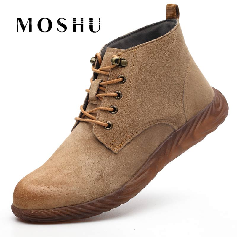 New Men Work Safety Shoes Steel Toe Cap Shoes Insurance Beef Tendon Puncture Proof Labor Ankle Boot Breathable Botas Hombre