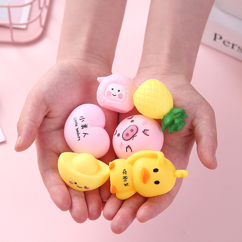 Mini Cute Pink Pig Squishy Kawaii Healing Fun Kids Squeeze Toy Stress Reliever Decor Silicone Cartoon Toys