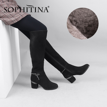 SOPHITINA Kid Suede Boots High Quality Soild Handmade Knee High Square Heel Round Toe Elegant Women Shoes Warm Winter Boot SC617 haraval handmade winter woman long boots luxury flock round toe soft heel shoes elegant casual warm retro buckle solid boots 289