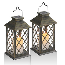 Solar Lantern, Outdoor Garden Hanging Lantern, Set of 2, LED Flickering Flameless Candle Mission Lights for Table, Outdoor, Part lantern cast iron lantern candle holder tealight holder lantern owl crafts table top crafts