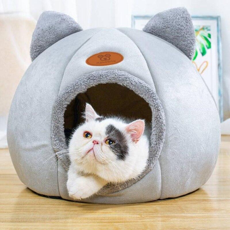 Lit pour chats et chiens, amovible avec matelas dintérieur pour animaux domestiques, niche chaude pour sommeil profond, niche dhiver pour chaton et chiot