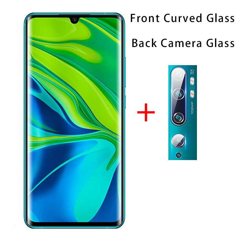 2 IN 1 Full Cover Curved Tempered Glass For Xiaomi Mi Note 10 HD Camera Lens Film For Xiaomi Mi Note 10 CC9 Pro Screen Protector