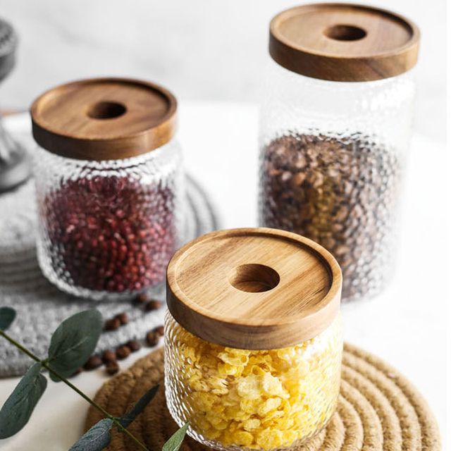 Bamboo Lid Glass Airtight Canister Storage Bottles Multipurpose Spices Storage Box Dustproof and Moisture Proof Jars for Spices 5