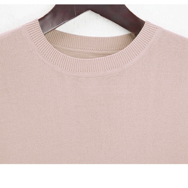 New Brief Elegant Two-piece Set Women's Loose O-neck Knitted Pullover Side Slit Long Sleeve Sweater Dresses&pants High Quality 3
