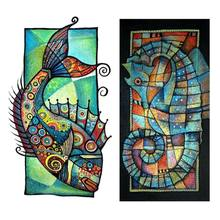 Set of 2 5D Diamond Painting Kit for Adult Full Drill Paint with Diamonds Pictures Arts Craft for Home Decor Gift, Fish and seah(China)