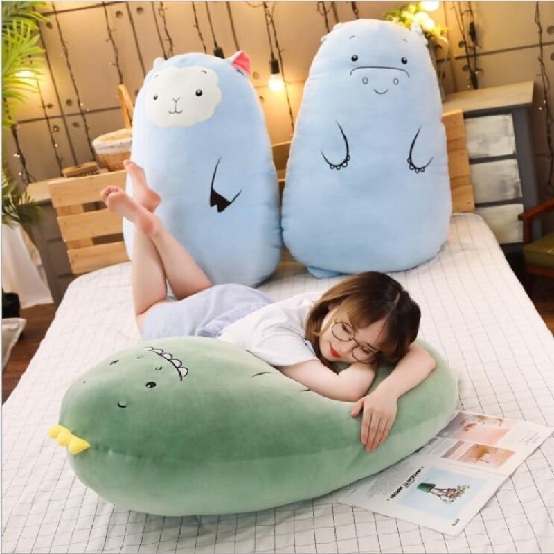 70 cm dinossauro travesseiro brinquedos de pelucia bonito porco boneca meninas cama segurando uma boneca de