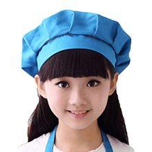2021 Girls Boys  Hat Children Cooking Baking Kitchen School Children Bib Headwear Solid Caps DIY Painting
