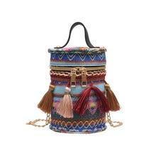 Народная Женская Ручная тканая сумка с кисточками, богемная сумка через плечо, Стильные пляжные сумки, плюшевые кошельки