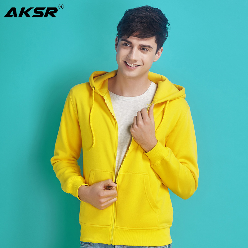 AKSR 2019 New Men Hoodies Sweatshirt Zipper Streetwear Hip Hop One Piece Hoodie White Plain Hoodie Hooded Sweatshirts Sudadera
