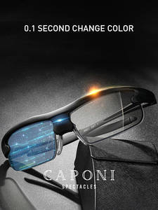 CAPONI Shade Driving Sun-Glasses Vintage Polarized Photochromic Sports Men BS0087 Second