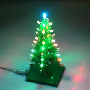 Image 5 - UNISIAN Colorful 3D Christmas Tree DIY Kit with Acrylic Shell Christmas Gift Electronic Fun DIY Suite Flash LED interesting Kit