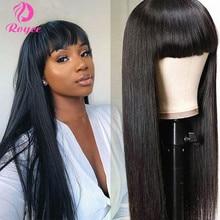 Bone Straight Human Hair Wigs With Bangs Brazilian Fringe Wig Colored Human Hair Wigs Ginger Burgundy Cheap Full Machine Wigs