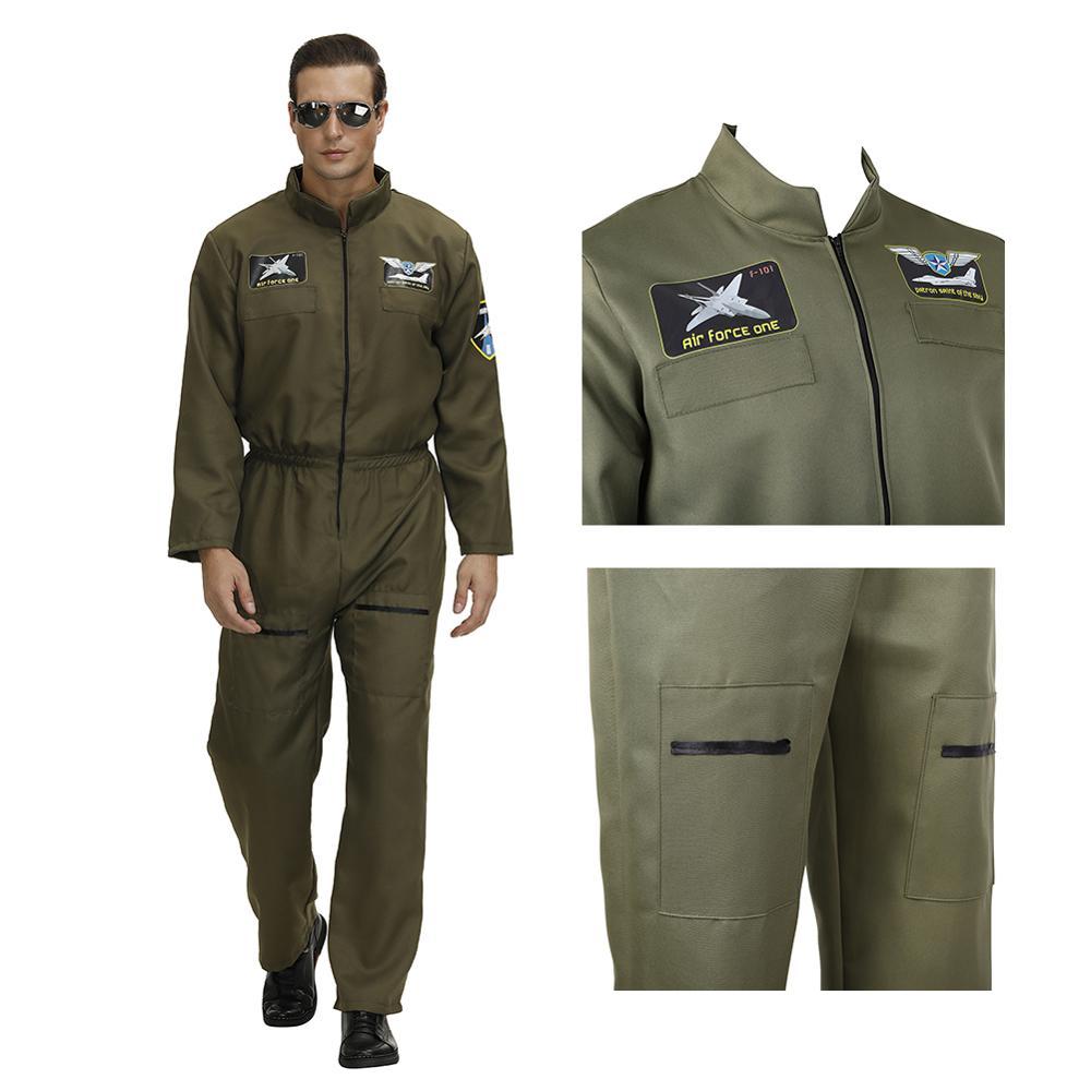 Flight Suit Uniform Man Fighter Pilot Costume Women Top Gun Halloween Cosplay Adult Jumpsuit Zipper Costume Couple Game Overalls