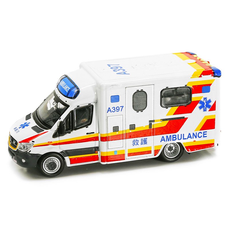 1:76 Hong Kong FSD Fire Department Ambulance Diecasting Alloy Model Simulation Retro Vehicle Metal Art Traffic Collection Toys