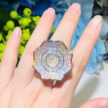 Wedding-Party-Ring Jewelry Paved Engagement Gold Cwwzircons Luxury Big R152 3-Tone Dubai