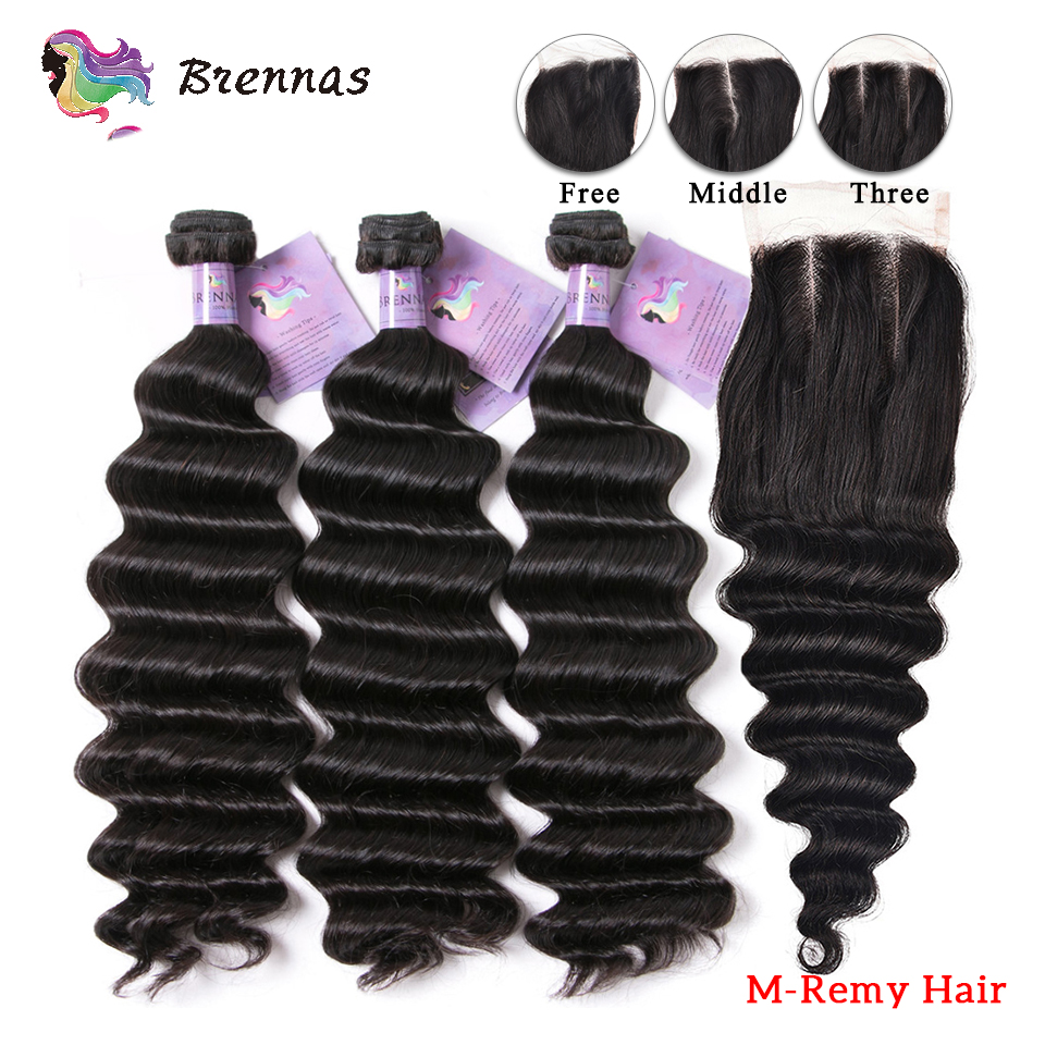 Loose Deep Wave With Closure Middle Ratio Brazilian Human Remy Hair 4x4 Lace Closure Natural Color For Women 8''-26'' Brennas
