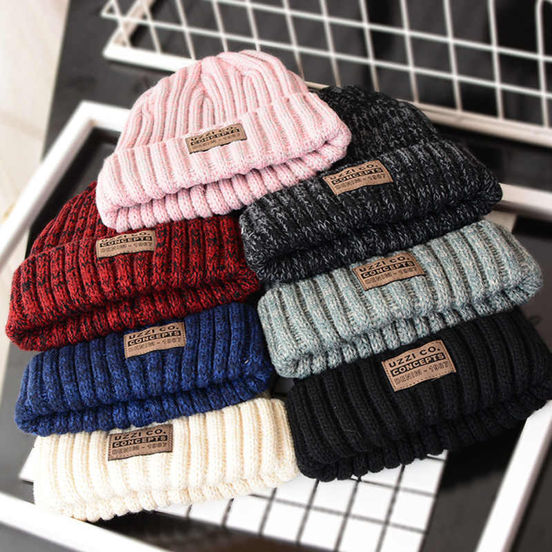 Adult  Winter Hats for Woman  Casual Beanies for Men Women Warm Knitted Winter Hat Fashion Solid Hip-hop Beanie Hat Unisex Cap