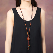 Elegant Vintage sweater chain Handmade Long Necklace Chinese Ethnic Adjustable wood bead Chains
