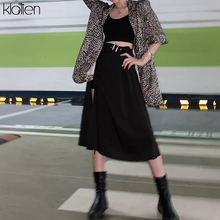 KLALIEN Fashion High Waist Black Midi Skirt Women summer streetwear casual split Hem Asymmetric long Skirt ladies 2020 new