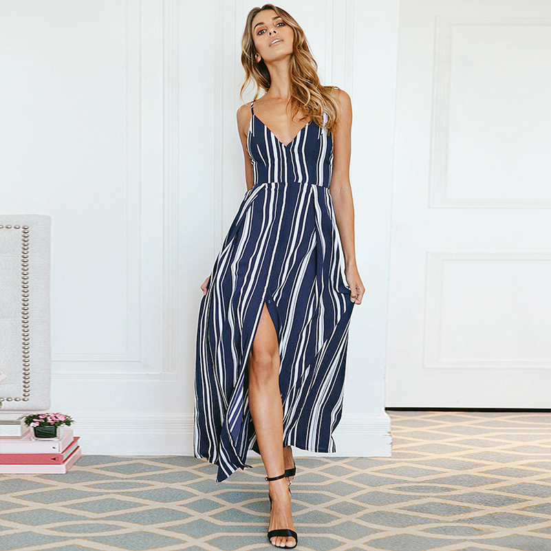 Beach Clothing Backless Dress Casual Holidays Off Shoulder 2019 Summer The V Neck Long Sexy Waist Striped Female High Women Hot
